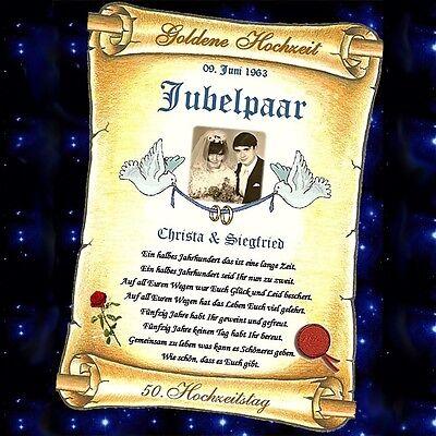 Hochzeitstag Geschenkidee Goldene Gold Hochzeit NEU Goldhochzeit Urkunde zum 50