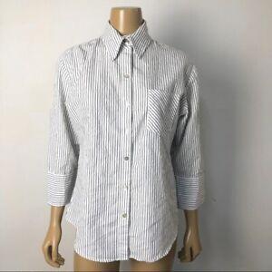 Chico's Women's Black and White Vertical Striped Button ...
