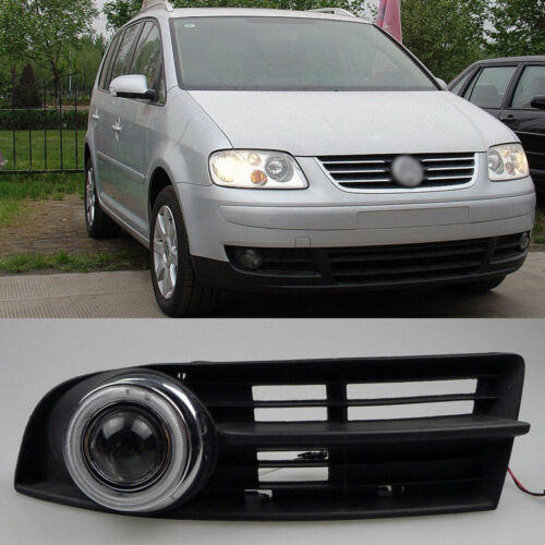 Fog Lights Kit COB Angel Eye Bumper Cover Lens For VW Touran 2003-2006