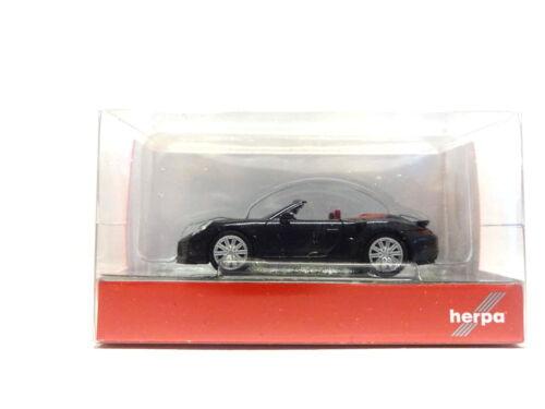 Herpa 038928 PORSCHE 911 Turbo Cabriolet profondamente Nera Metallica Nero 1:87 NUOVO