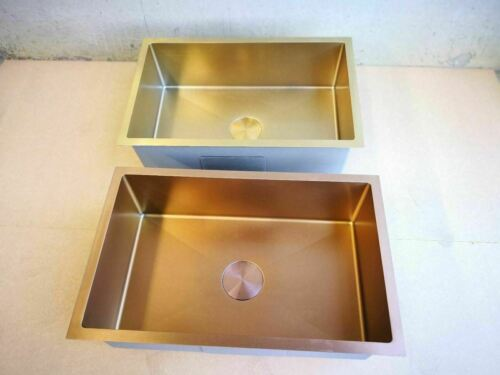 Burnished rose gold copper stainless steel double bowl kitchen sink hand made