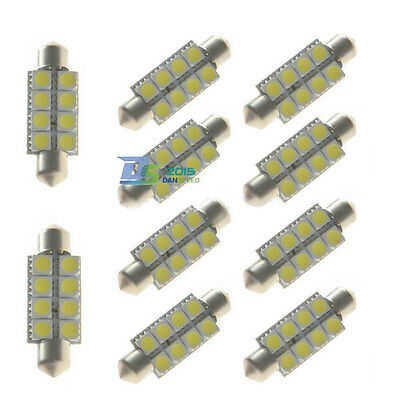 10pcs Car 41mm 8 SMD LED Festoon Canbus Bulb Light Interior Dome Lamp Bulb White