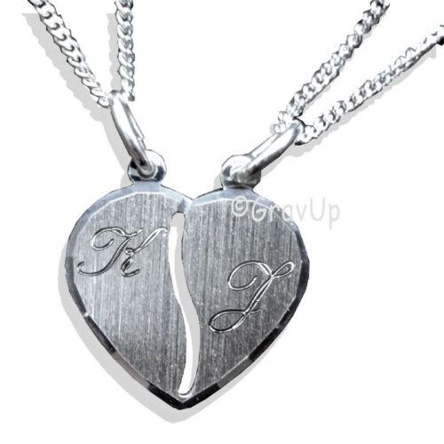 Remolque de socios corazón con 2 cadenas y 2 X grabado plata 925 a482