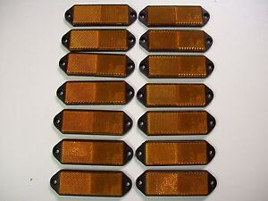 14 rectangular Amber  Reflectors for Trailers/Fenci<wbr/>ng/Posts/Gates<wbr/>/Driveways etc