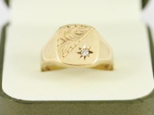 Diamond Signet Ring 9ct gold Gents Size S 3 4 375 8.5g Dj73