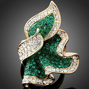 Fashion-Green-Feather-shape-Crystal-gold-Plated-GP-Finger-Ring
