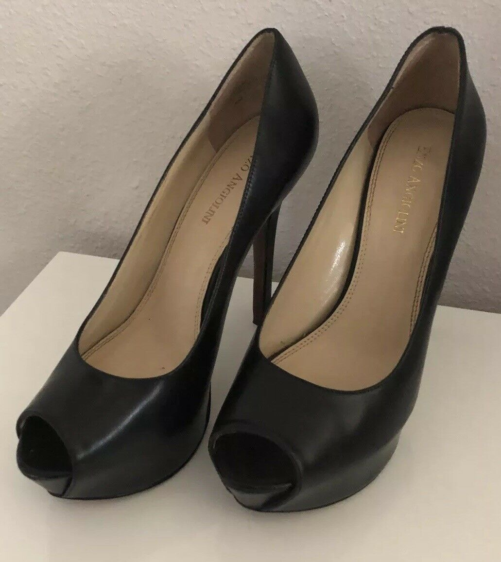 ENZO ANGIOLINI Open Toe Platform Pumps Sz 8 Black