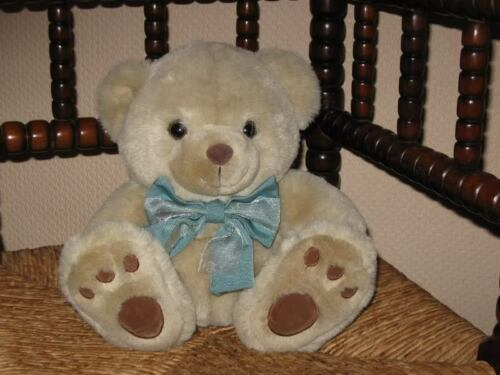 Chosun Sample Beige Teddy Bear Plush 9 Inch Sitting Blue Bow