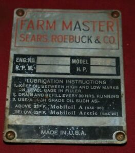 Details about Cushman Cub Style Engine Nameplate 2 HP Farm Master Gas  Engine Motor OP28 5 2