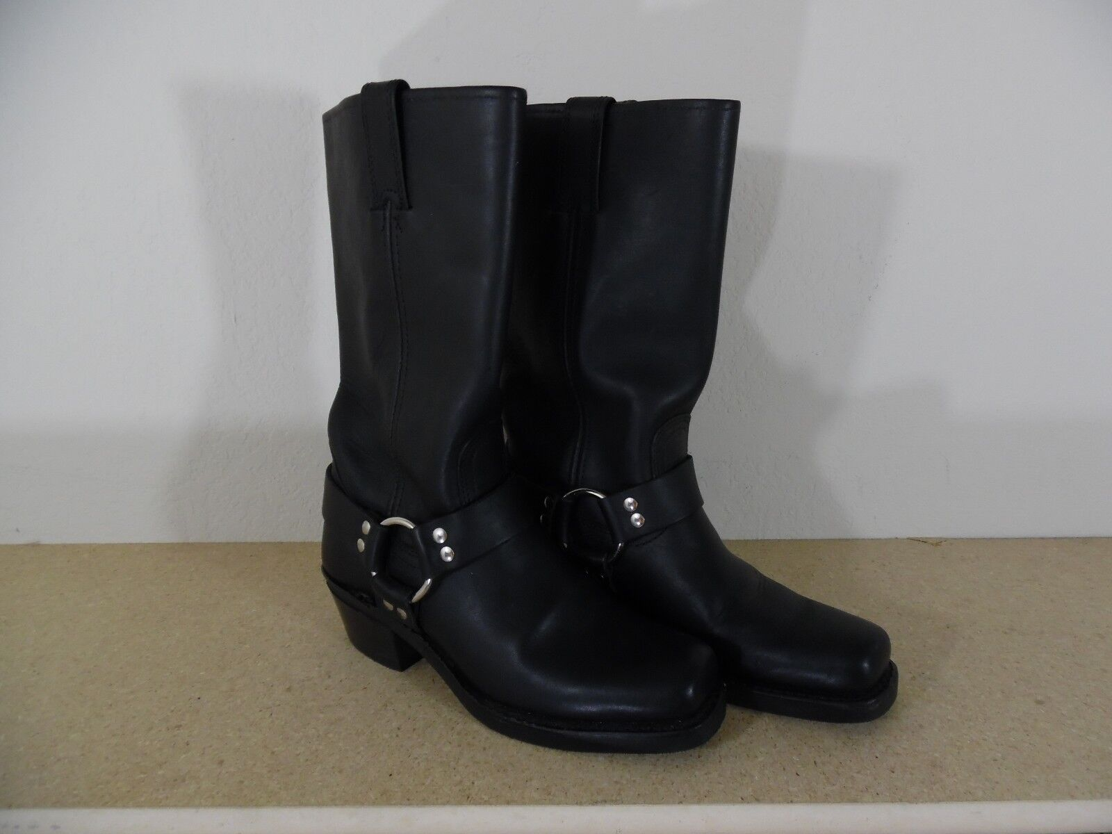 Frye 77300 Black Harness Boots Engineer Motorcycle Made USA 12