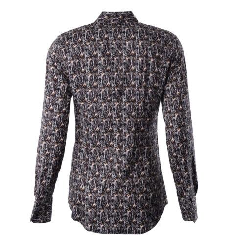 DOLCE /& GABBANA SICILIA RUNWAY Hemd mit Schlüssel Print Beige Braun Shirt 04801