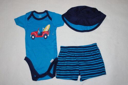 Baby Boys 3 PC SET Turquoise Navy JEEP T-Shirt Shorts Hat NB 0-3 3-6 6-9 24 MO