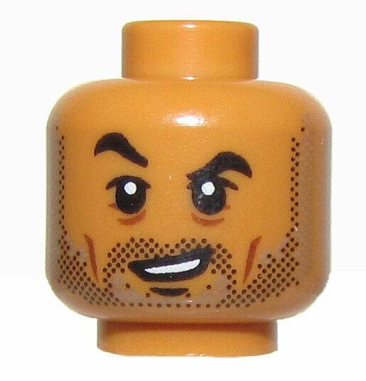 Lego Medium Dark Flesh Minifig Head Dual Sided Face Paint Smile Mouth Open