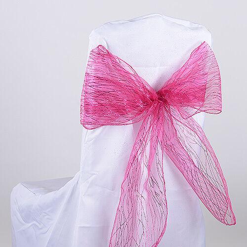 "TulleShop 10 Pcs Glitter Organza 8/"" Inch x 108 /"" Chair Sash Bow Weddings Party"