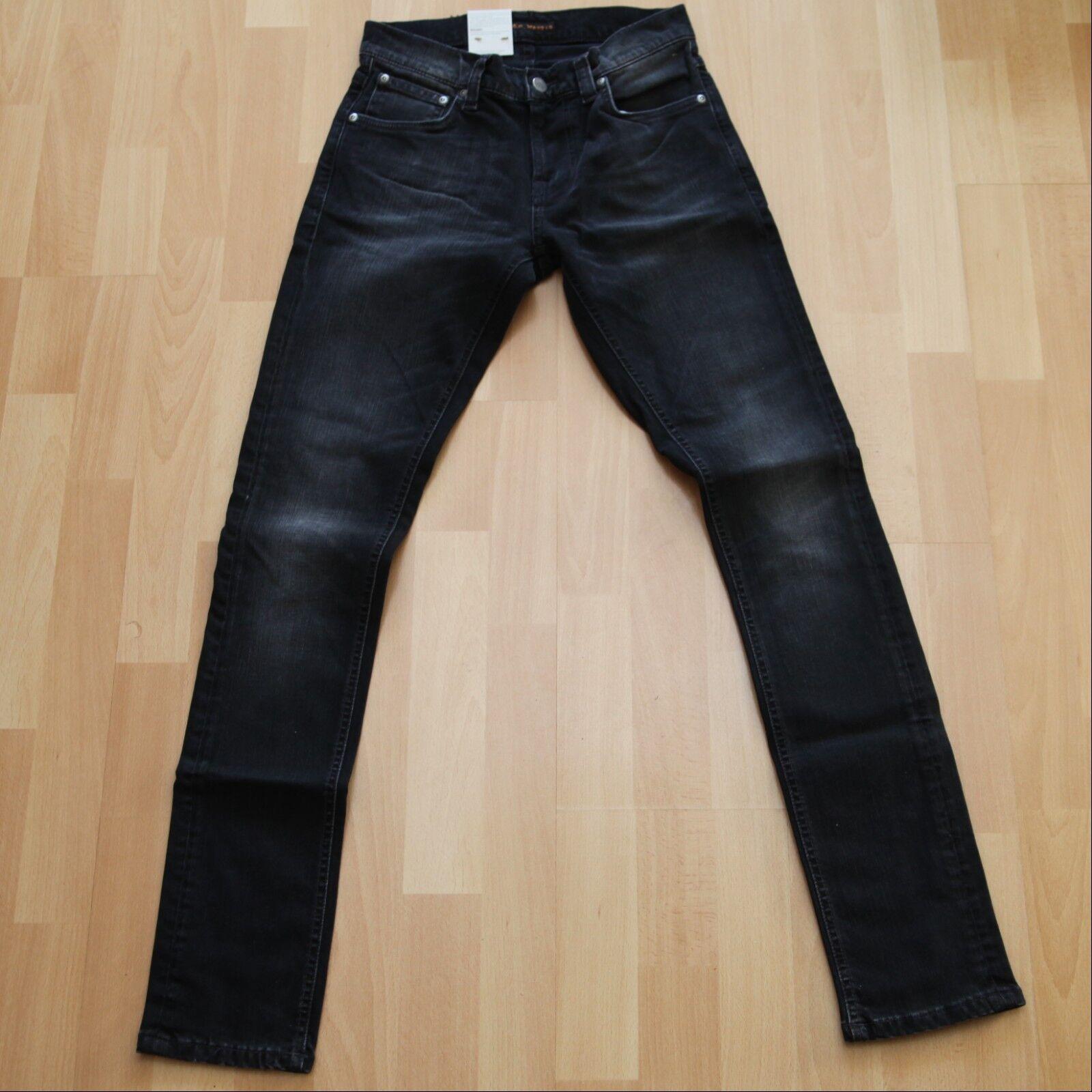 NEU Nudie Jeans Tight Terry (Tight Antifit) Rainy schwarz 28 32