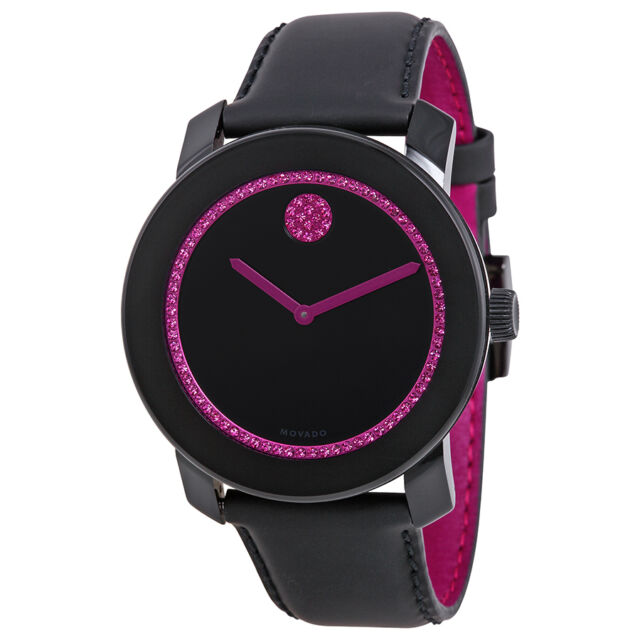 Movado Bold 42 Special Edition BCRF Pink and Black Leather Ladies Watch 3600179