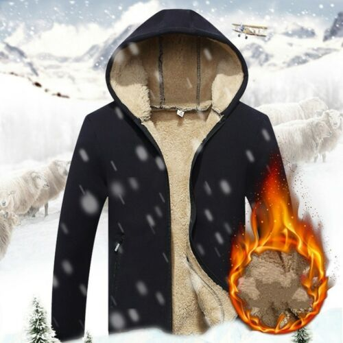 Men Sherpa Lined Fleece Hoodies Winter Athletic Hooded Sweater Warm Outwear Soft