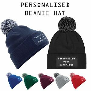 e778bde0bccc0 Image is loading Personalised-Unisex-Printed-Beanie-Hat-Custom-Name-Logo-
