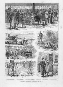 1878-Antique-Print-MILITARY-Wimbledon-Rifle-Meeting-Sketches-Band-244
