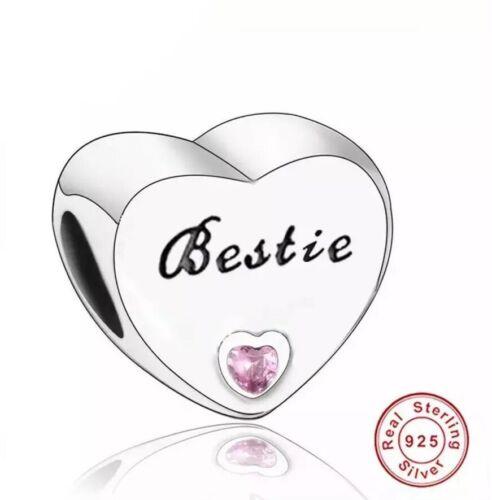 S925 Plata esterlina CZ Rosa Corazón Mejor Amigo De Bestie encanto para pulseras
