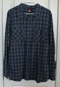 Quicksilver-Mens-Flannel-Long-Sleeve-Shirt-XL-Extra-Large-Blue-Gray-Plaid-EUC