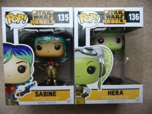 STAR WARS RIBELLI Sabine 135 e 136 Hera Disney con POP Protettore Funko Pop