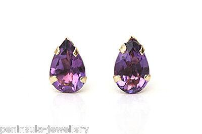 9ct Gold Amethyst Teardrop stud earrings Gift Boxed Made in UK