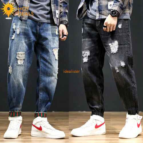 Mens Loose Denim Pants Ripped Stretch Harem Cropped Jogger Jeans Plus Size 28-48