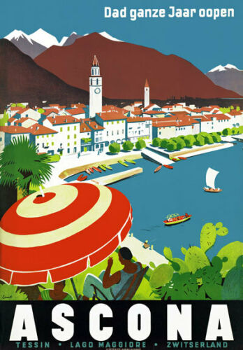 T71 Vintage Switzerland Ascona Travel Poster A1 A2 A3
