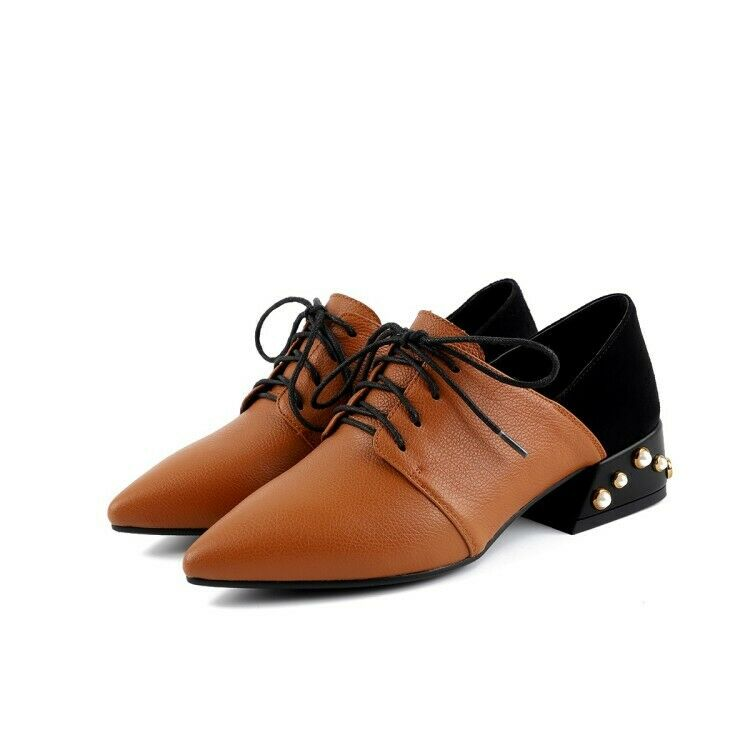 Wouomo Lace Up sautope Low Heel Pearl Studded Pointed Toe Casual Oxfords US 4.5-9