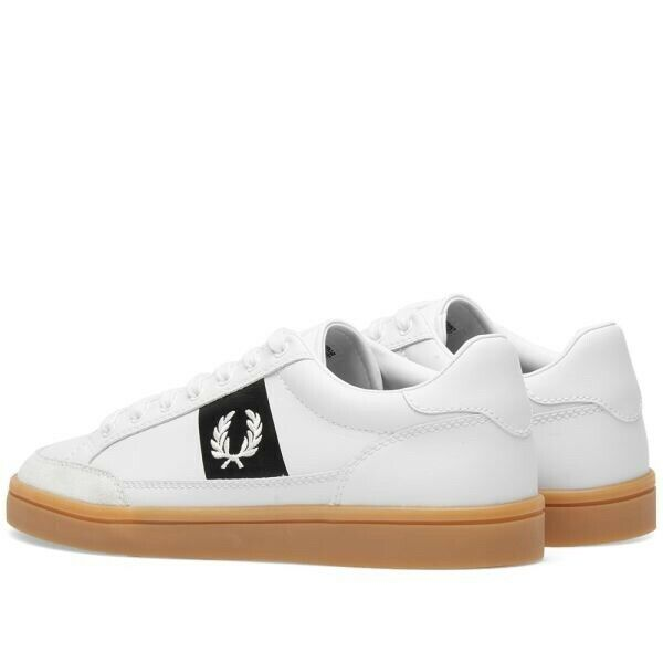 Frot Perry Mens Leather Suede Weiß Trainers Deuce B4103
