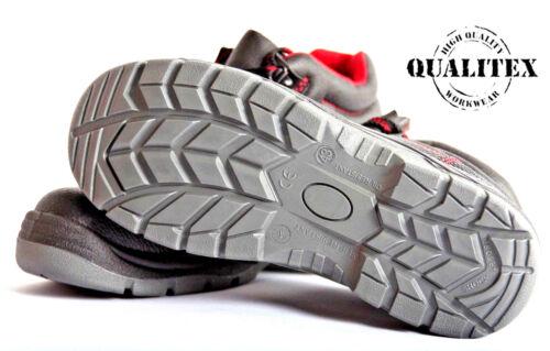 QUALITEX® Sicherheitsschuh S3 Gr.40 Halbschuh oder Hochschuh schwarz//rot//grau