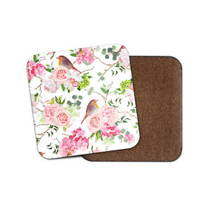 Hermosa-Robins-Coaster-Rosas-Flores-Regalo-tan-Floral-Pajaros-15920