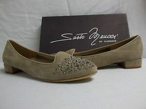 83a10d53be4 Sesto Meucci Of Florence Size 10 M Steffy Beige Suede Flats New ...