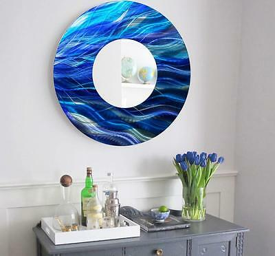 Large Round Blue Metal Mirror Wall Art Home Decor Accent Sculpture by Jon Allen