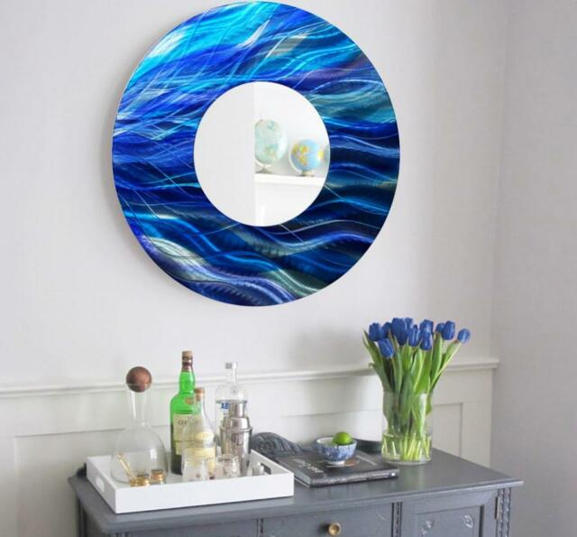 Large Round Blue Metal Mirror Wall Art Home Decor Accent Sculpture ...