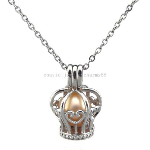Bead Cage Necklace Locket Kids Girl Chain Heart Princess Crown Pearl Cage