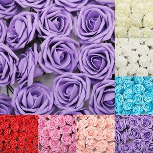 50x-Hochzeit-Deko-Blumen-Schaum-Rosen-Kuenstliche-Blumen-Rosenkoepfe-Flower-Kunst