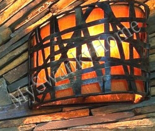 Alita Dark METAL BASKETWEAVE Sconce NEIMAN MARCUS Wall Light Black Fixture Luxe