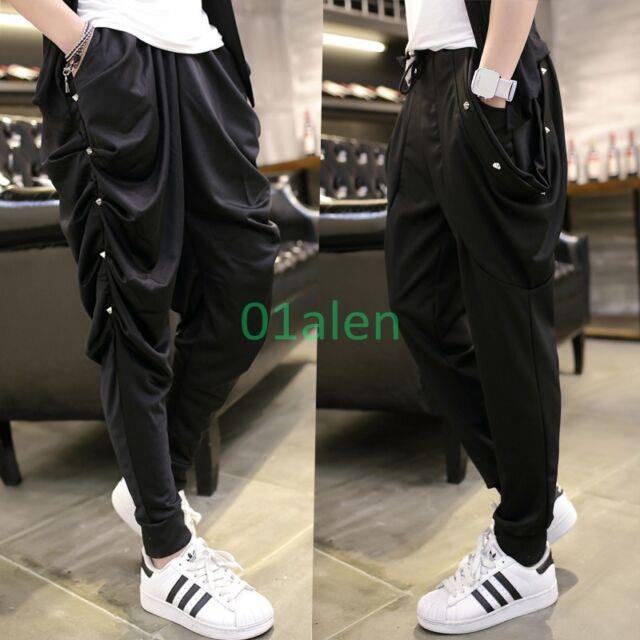 Summer Korean Mens Harem Hip Hop Long Short Loose Trousers Punks Casual  Pants