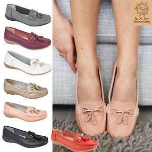 Womens-Ladies-moccasins-Real-leather-tassel-loafers-comfort-boat-shoes-size-3-8