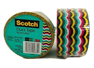 Scotch Duct Tape Roy-G-Biv Rainbow Colors 1.88 in x 10 yd Roll 3M