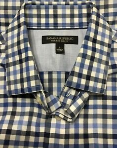 Banana-Republic-Men-s-Non-Iron-Slim-Fit-Blue-Checked-Cotton-Shirt-S-S-14-14-5