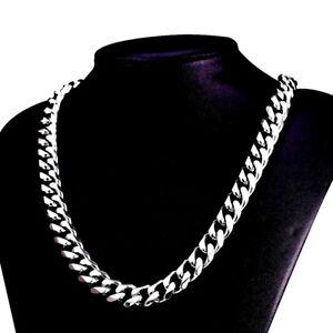 Chaine-Bijoux-Homme-Femme-60cm-7mm-Longue-Acier-Chrome-Argente-CubainRock-HipHop