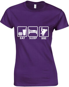 Eat-Sleep-Motorbike-Ladie-039-s-Printed-T-Shirt-Short-Sleeve-Tshirt-Soft-Women-Tee