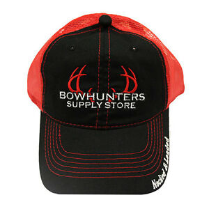 Bowhunters Supply Store Blk Red Mesh Hat f9bf27b21531