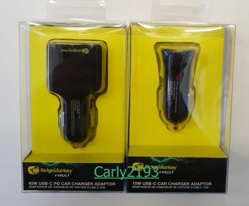 RidgeMonkey Vault 45W and 15w Car Charger Adaptor