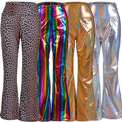 RAINBOW 70s Style High Shine Flares Festival Fancy Dress
