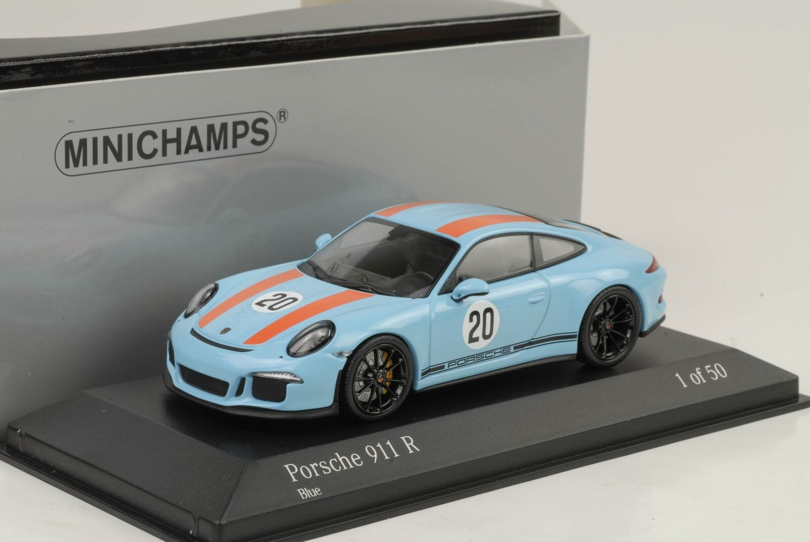 2016 Porsche 911r 911 R Gulf bluee orange le Mans 1 43 Minichamps