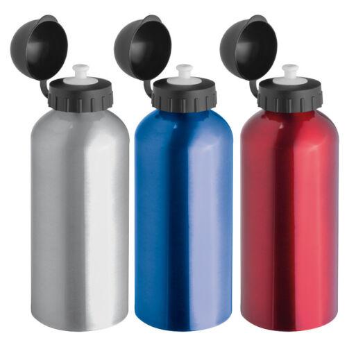Sportverschluss je 1x grau,rot,blau 3x Aluminium Trinkflasche Sportflasche